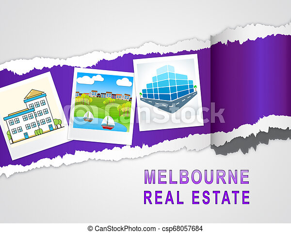 Melbourne Real Estate Property Photos Representing Australian Realty In Victoria - 3d Illustration - csp68057684