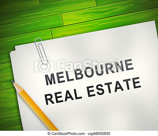 Melbourne Real Estate Property Report Representing Australian Realty In Victoria - 3d Illustration - csp68055830