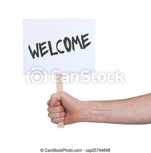 meldingsbord, witte , vrijstaand, holdingshand - csp25744848