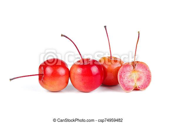 mele, bianco, isolato, granchio, fondo - csp74959482