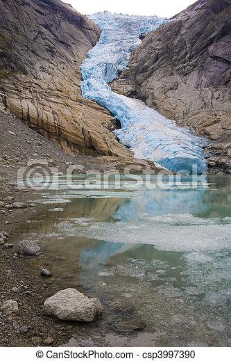 Melkevollbreen Glacier, Jostedalsbreen National Park, near Brigsdal, Norway - csp3997390