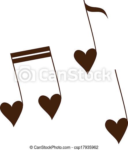 melodia, amor, isolado, white. - csp17935962