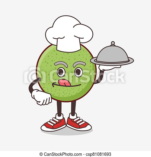Melon Fruit cartoon mascot character as a Chef with food on tray ready to serve - csp81081693