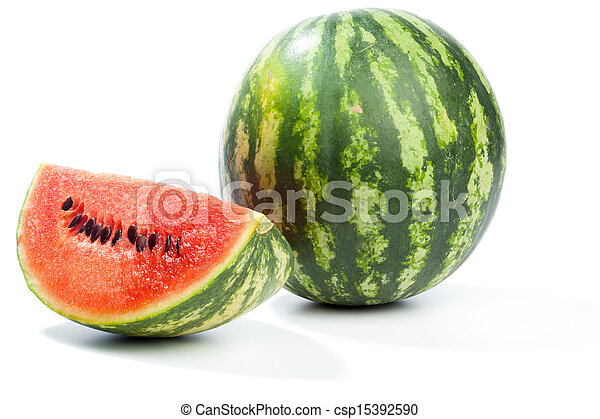 Melon whole and pieces, isolated on white - csp15392590
