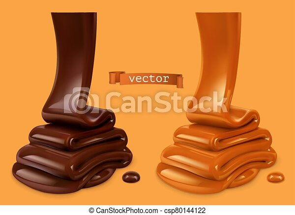 Melted Chocolate And Pouring Caramel Sauce 3d Realistic Vector Objects Food Illustration Canstock