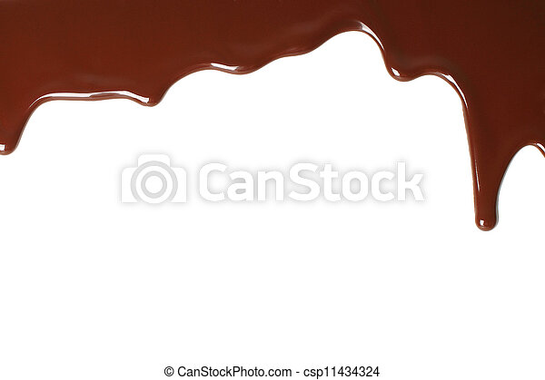 Melted chocolate dripping on white background - csp11434324