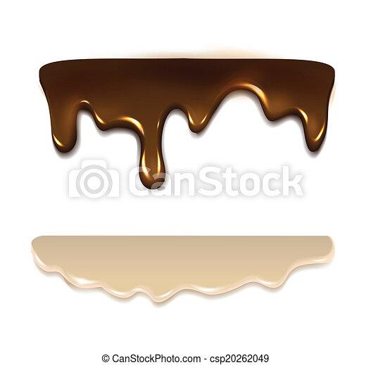 Melting chocolate and milk cream. Vector - csp20262049