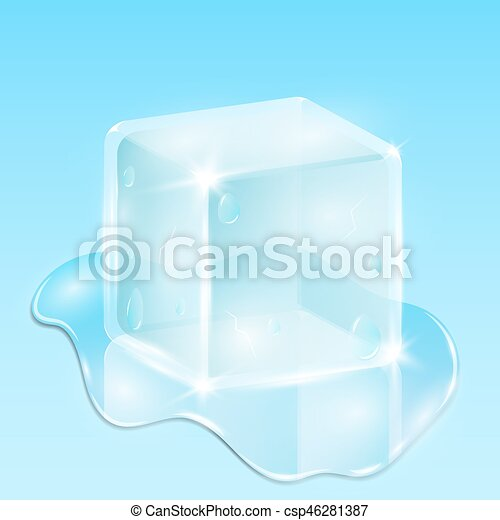 Melting ice cube on a light blue background. A drop of water is flowing - csp46281387