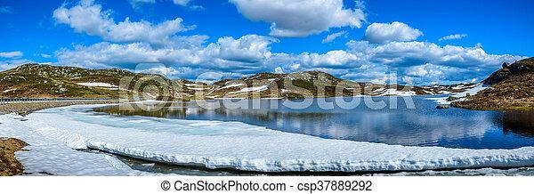 Melting lake in Norway - csp37889292
