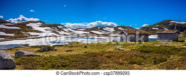 Melting lake with wooden houses - csp37889293