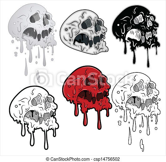Melting Skulls Vector Illustration - csp14756502