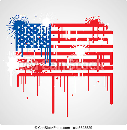 Melting Usa Flag Melting And Splatter Usa Flag With Drops And Stains
