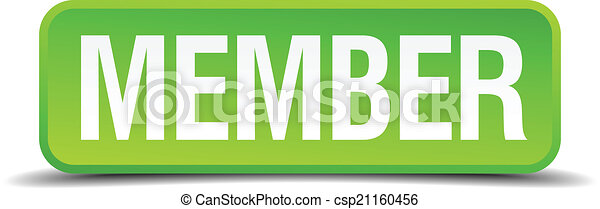 Member green 3d realistic square isolated button - csp21160456