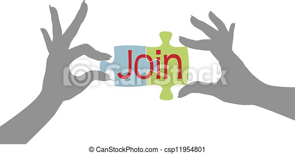 Member hands Join together puzzle - csp11954801