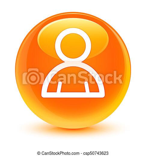 Member icon glassy orange round button - csp50743623