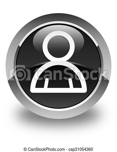 Member icon glossy black round button - csp31054360