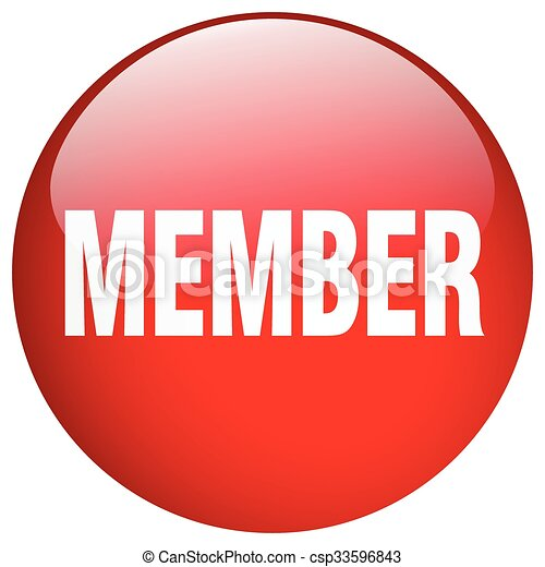 member red round gel isolated push button - csp33596843