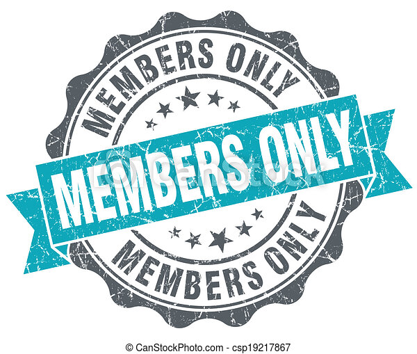 Members only blue grunge retro style isolated seal - csp19217867
