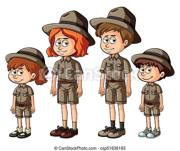 membri famiglia, safari, equipaggiamento - csp51636193