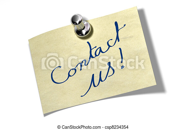memo note where it's written Contact us the color of the reminder is yellow ans is fixed onto a white wall by a thumbtack - csp8234354
