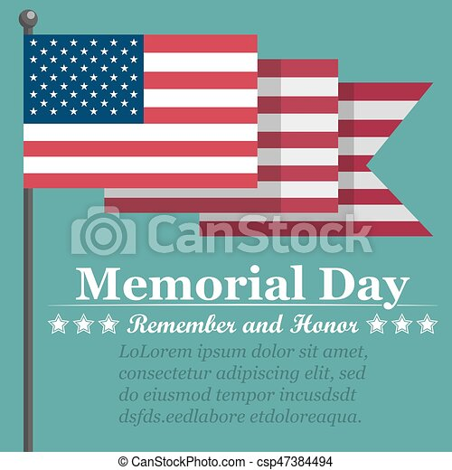 Memorial Day background with USA flag. Vector illustration - csp47384494