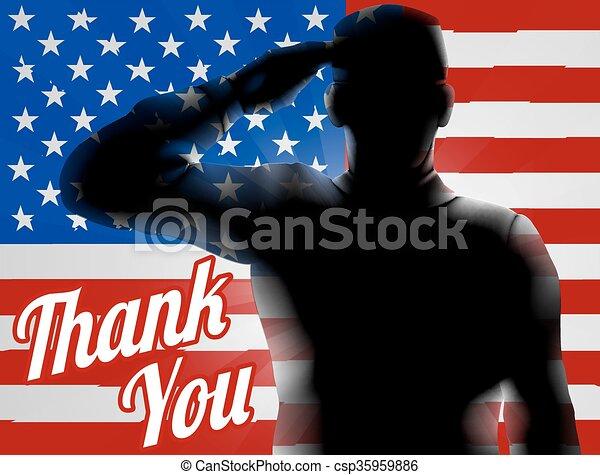 Memorial Day Thank You American Flag - csp35959886