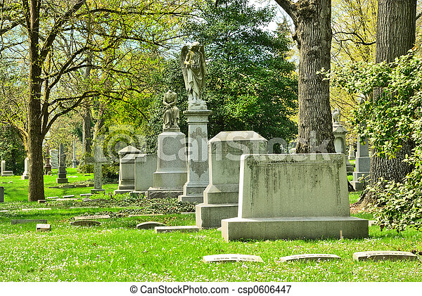 Memorial grave markers at historic Spring Grove Cemetery in Cincinnati Ohio USA.  Spring Grove is the second largest cemetery in the United States and was established in 1845. - csp0606447
