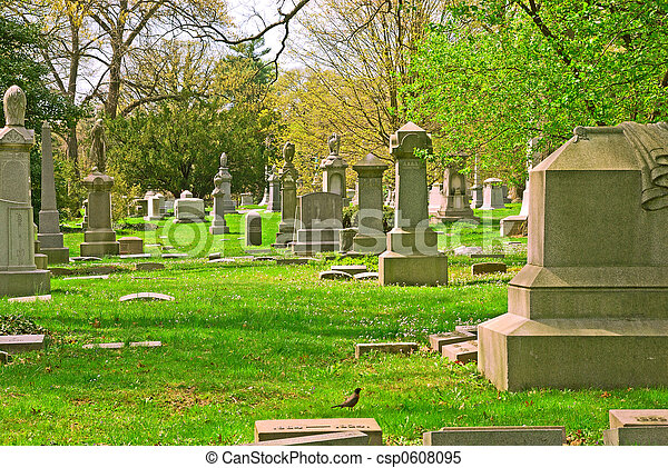 Memorial grave markers at historic Spring Grove Cemetery in Cincinnati Ohio USA.  Spring Grove is the second largest cemetery in the United States and was established in 1845.  - csp0608095