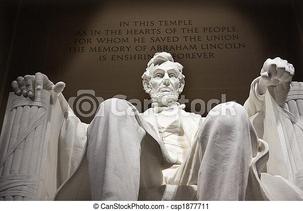 memorial, washington, cima, dc, lincoln, estátua, fim, branca - csp1877711