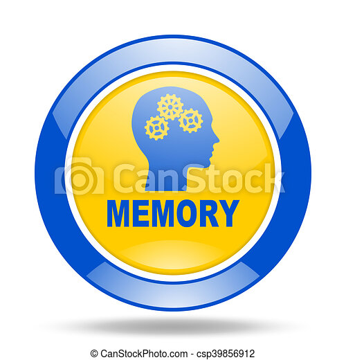 memory blue and yellow web glossy round icon - csp39856912