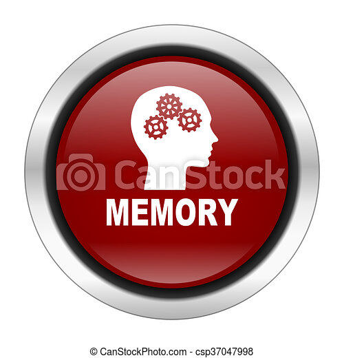 memory icon, red round button isolated on white background, web design illustration - csp37047998