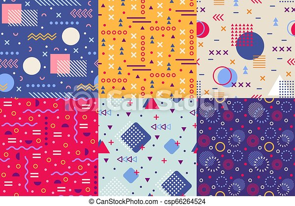Memphis Funky Pattern Retro 90s Abstract Shapes Backgrounds Creative Shape Texture Poster Seamless Vector Background Patterns