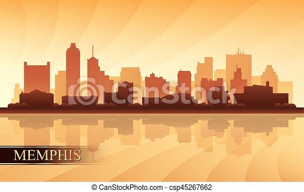 Silueta de fondo de Memphis City Skyline - csp45267662