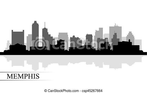Silueta de fondo de Memphis City Skyline - csp45267664