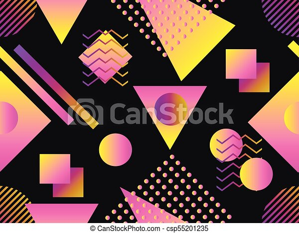 Memphis seamless pattern  Holographic geometric shapes, gradients, retro  style of the 80s  Memphis design background  Vector illustration