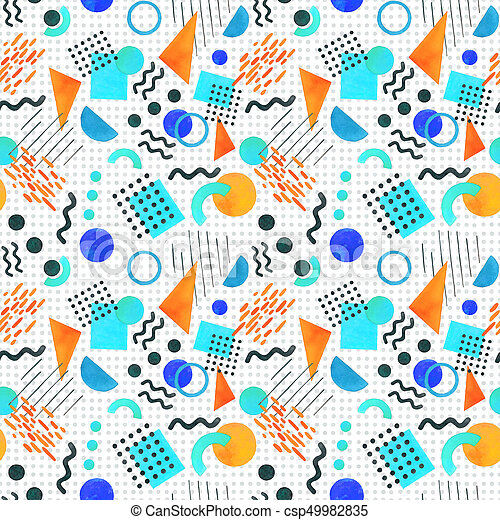 Memphis seamless pattern of geometric shapes 80's-90's styles on white  background