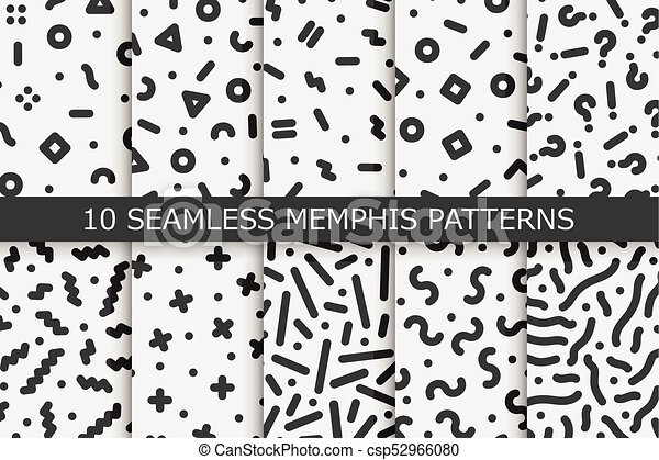 Memphis seamless patterns - vector swatches collection  Fashion 80-90s   Black and white textures