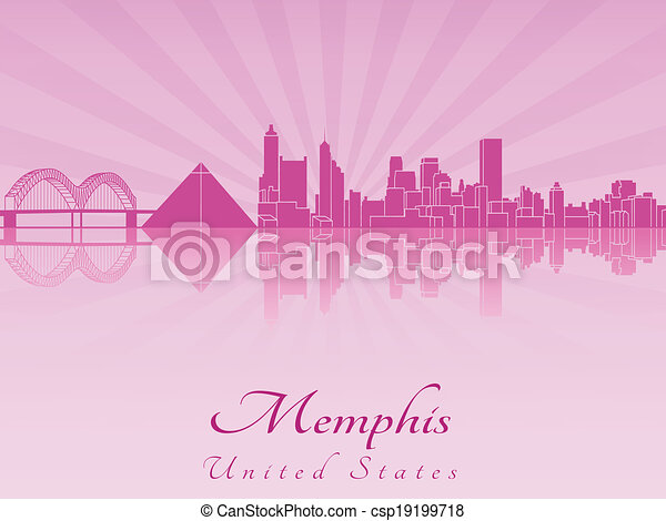 Memphis skyline in purple radiant orchid - csp19199718