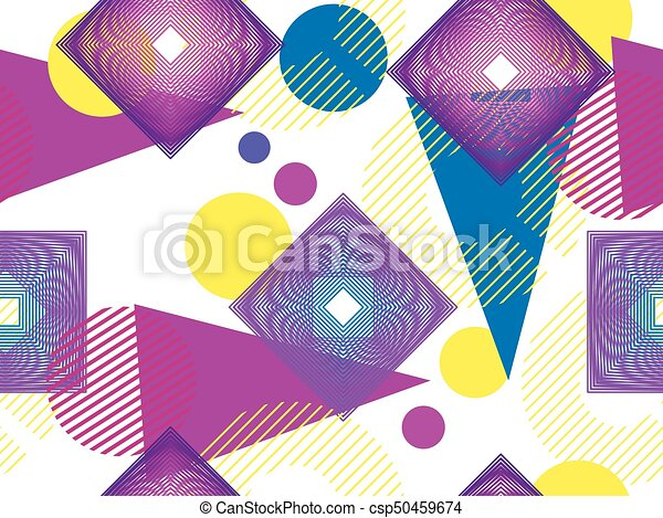 Memphis style seamless pattern 80s  Background with geometric shapes   Vector illustration