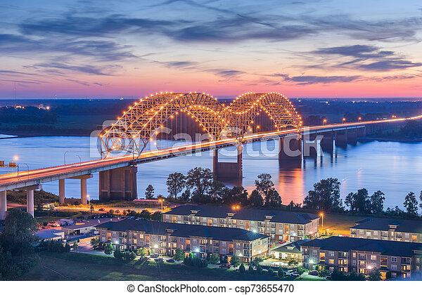 Memphis, Tennessee, USA at Hernando de Soto Bridg - csp73655470