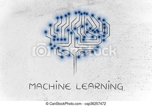 mené, circuit, cerveau, lumières, machine, sous-titre, apprentissage, puce - csp36257472