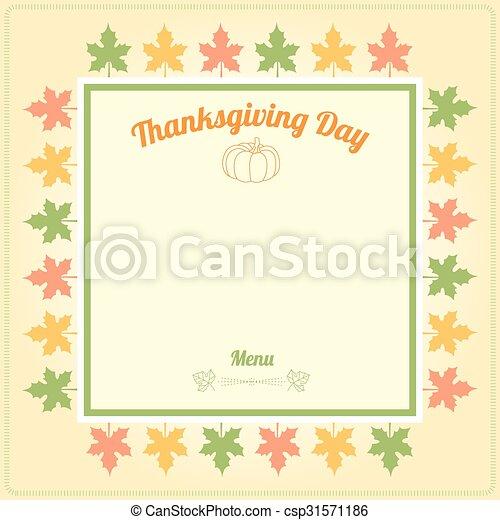 La plantilla del menú del día de Acción de Gracias - csp31571186