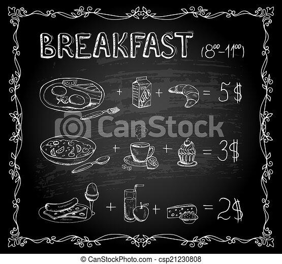 Menú de pizarra de desayuno - csp21230808
