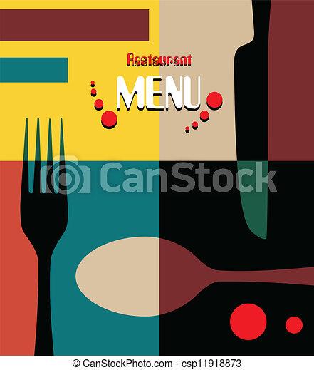 menú, diseño, retro, belleza, restaurante - csp11918873