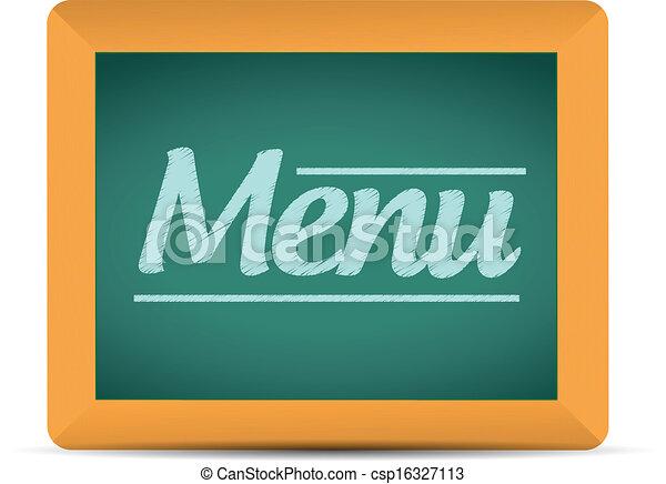 Mensaje de menú escrito en una ilustración de pizarra - csp16327113