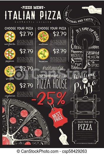La plantilla del menú de pizza italiano - csp58429263