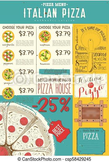 La plantilla del menú de pizza italiano - csp58429245