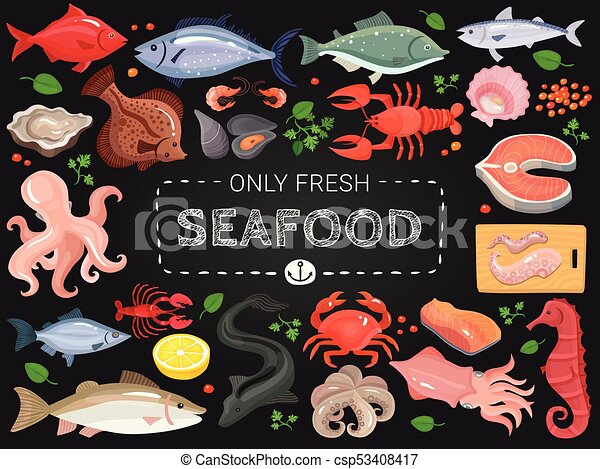 Un póster colorido de pizarra de mariscos - csp53408417