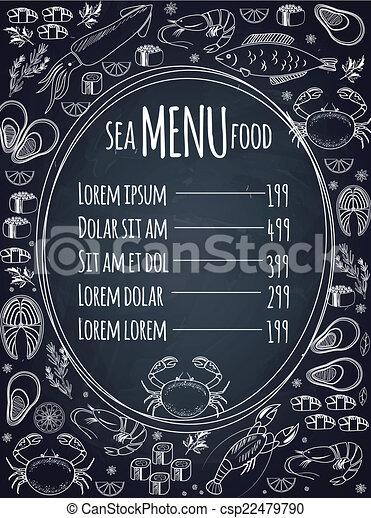 La plantilla del menú de pizarra de mariscos - csp22479790