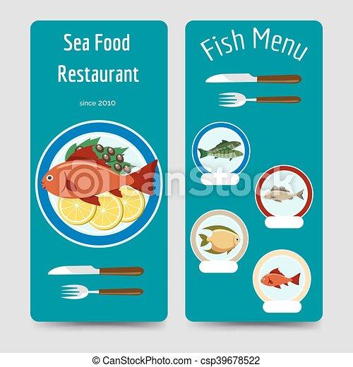 Los folletos del menú de peces se integran - csp39678522